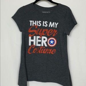 Marvel dark grey short sleeved tee shirt size Lg.